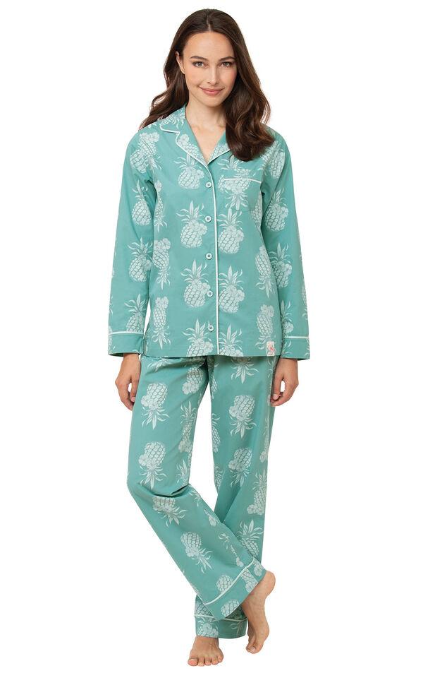 Margaritaville Boyfriend Pajamas - Turquoise Pineapple image number 0
