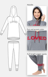 Close-up of the features of ''Loved'' Hoodie Pajamas which include a hoodie, fun red accent color and full length jogger pants image number 3