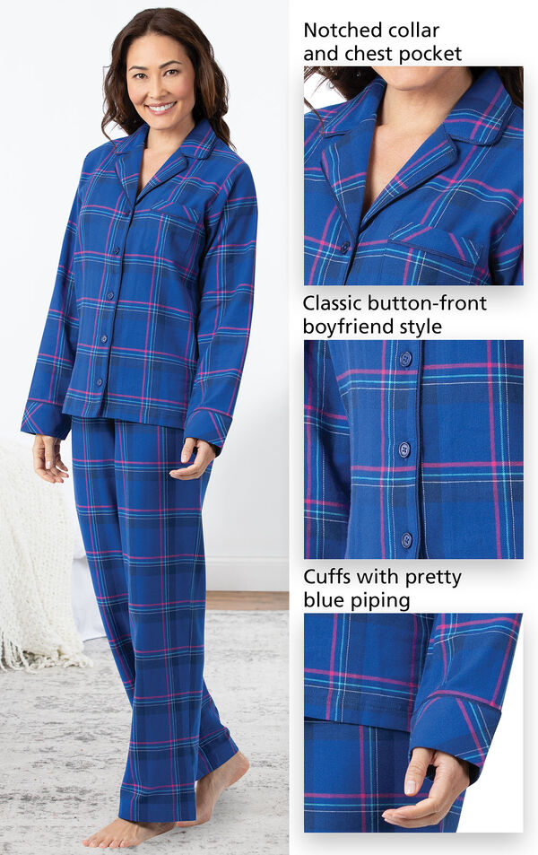 Close-ups of the features of Indigo Plaid Flannel Boyfriend Pajamas which include a notched collar and chest pocket, classic button-front boyfriend style and cuffs with pretty blue piping image number 3