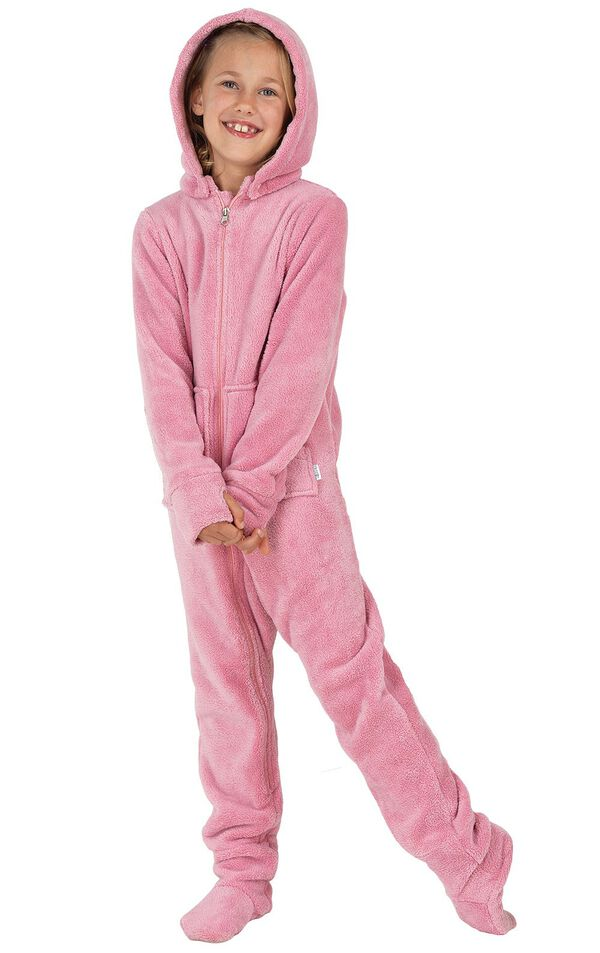Model wearing Hoodie-Footie - Pink Fleece for Kids image number 0