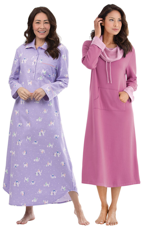 Models wearing Purrfect Flannel Nighty and World's Softest Nighty - Raspberry. image number 0