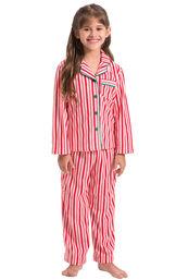 Model wearing Candy Cane Stripe Fleece PJ for Girls
