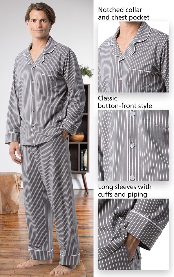 Close-ups of the features of Classic Stripe Men's Pajamas - Charcoal which include a notched collar and chest pocket, classic button-front style and long sleeves with cuffs and piping image number 5