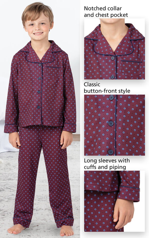 Model wearing Deep Red Print Button-Front PJ for Kids image number 3