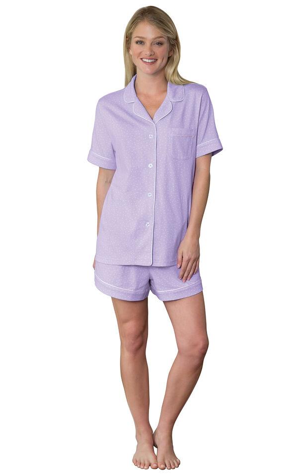 Model wearing Purple Pin Dot Short Set for Women image number 0