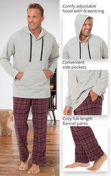 Burgundy Plaid Hooded Men's Pajamas image number 2