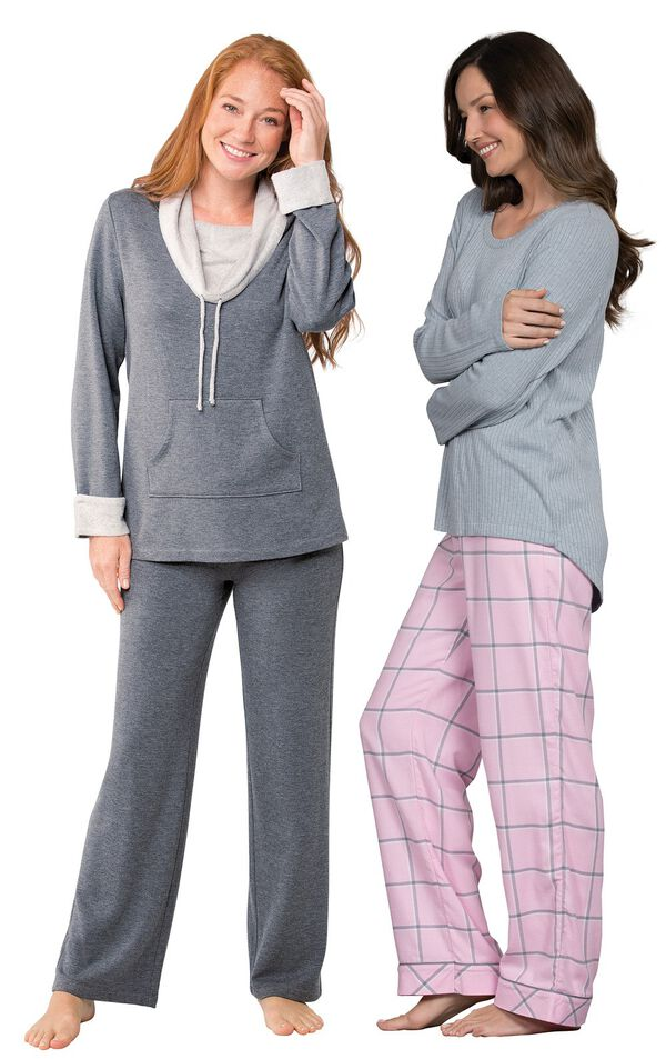 Models wearing World's Softest Flannel Pajama Set - Pink and World's Softest Pajamas - Charcoal. image number 0