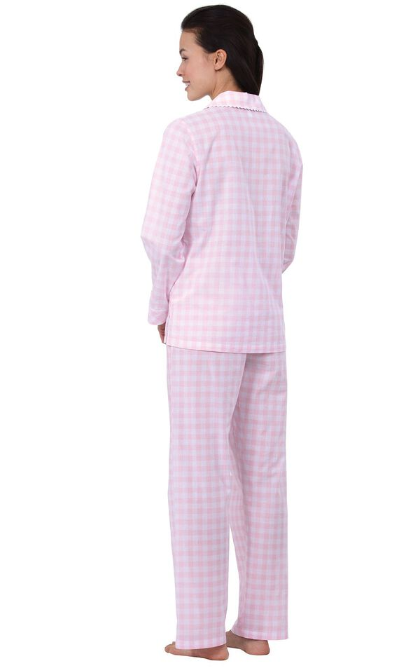 Model wearing Pink and White Gingham Button-Front PJ for Women, facing away from the camera image number 1