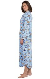 Model wearing Light Blue Dog Tired Print Gown for Women, facing to the side image number 2