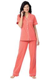 Model wearing Coral Solid Short Sleeve Boyfriend PJ image number 0