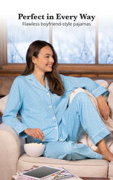 Model sitting on couch wearing Blue Pin Dot Button-Front PJ for Women image number 3
