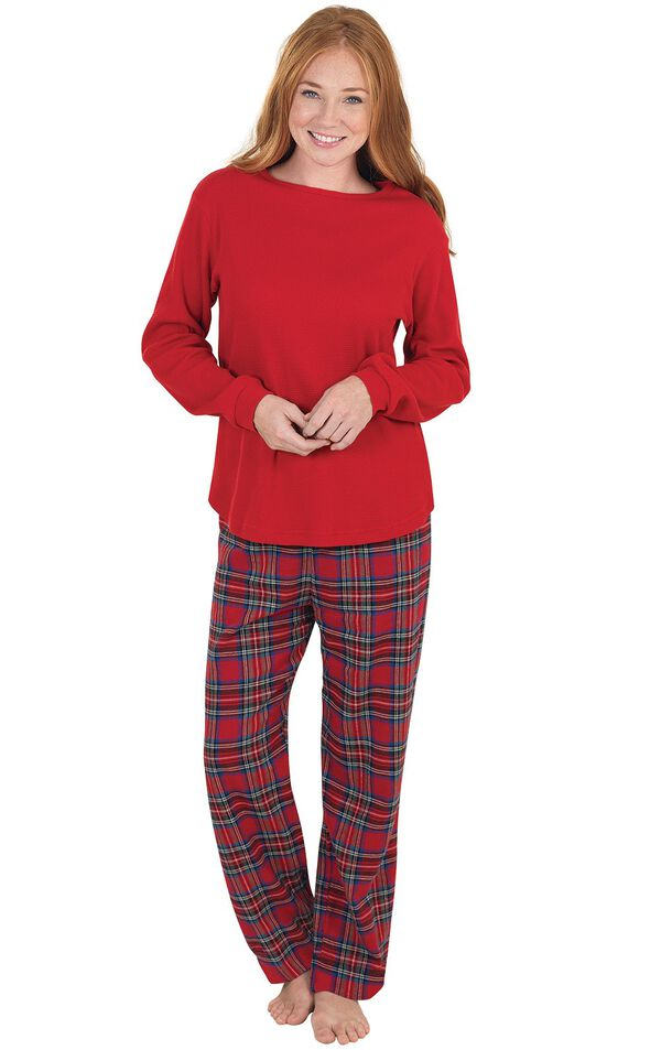 Model wearing Red Classic Plaid Thermal Top PJ for Women image number 0