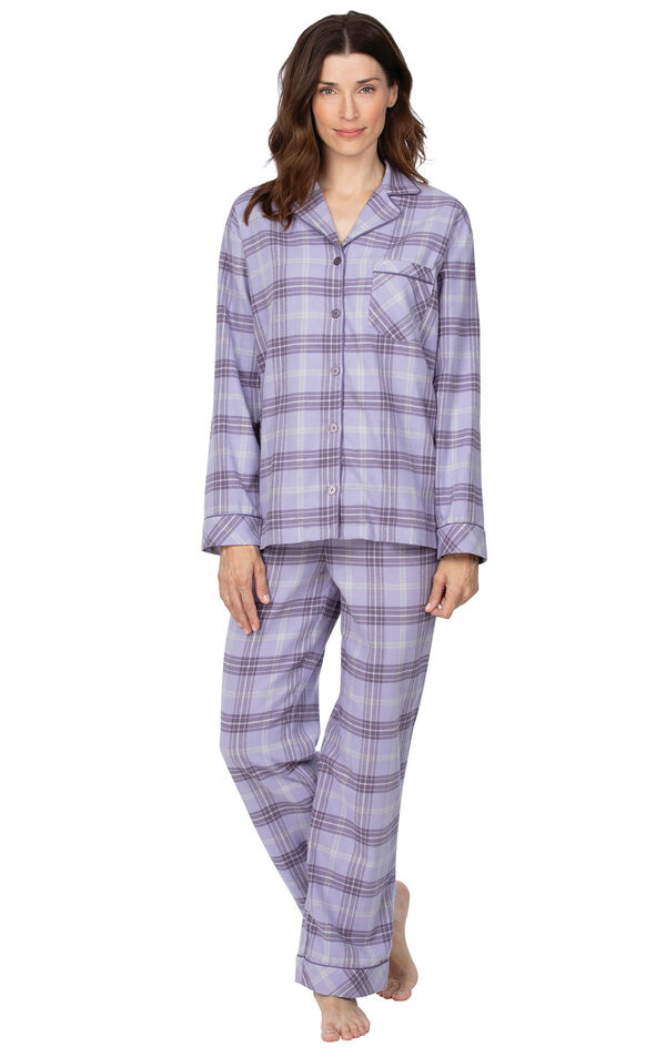 Lavender Plaid Button-Front PJ for Women image number 0