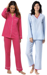 Models wearing Solid Jersey Boyfriend Pajamas - Bold Pink and Pillow Stripe Popover PJs - Blue/White image number 0