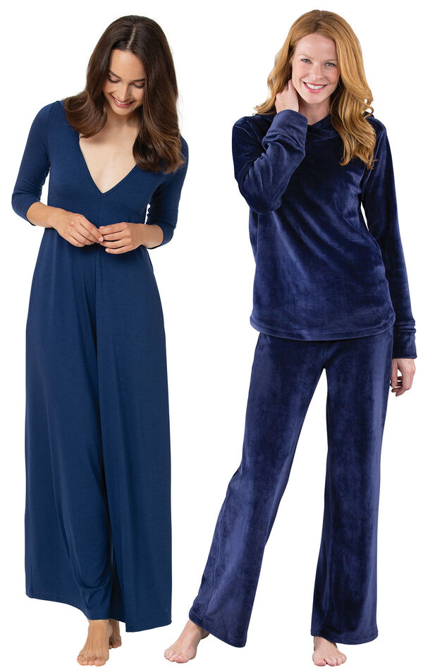 Navy Pajama Jumpsuit and Blue Tempting Touch PJs image number 0