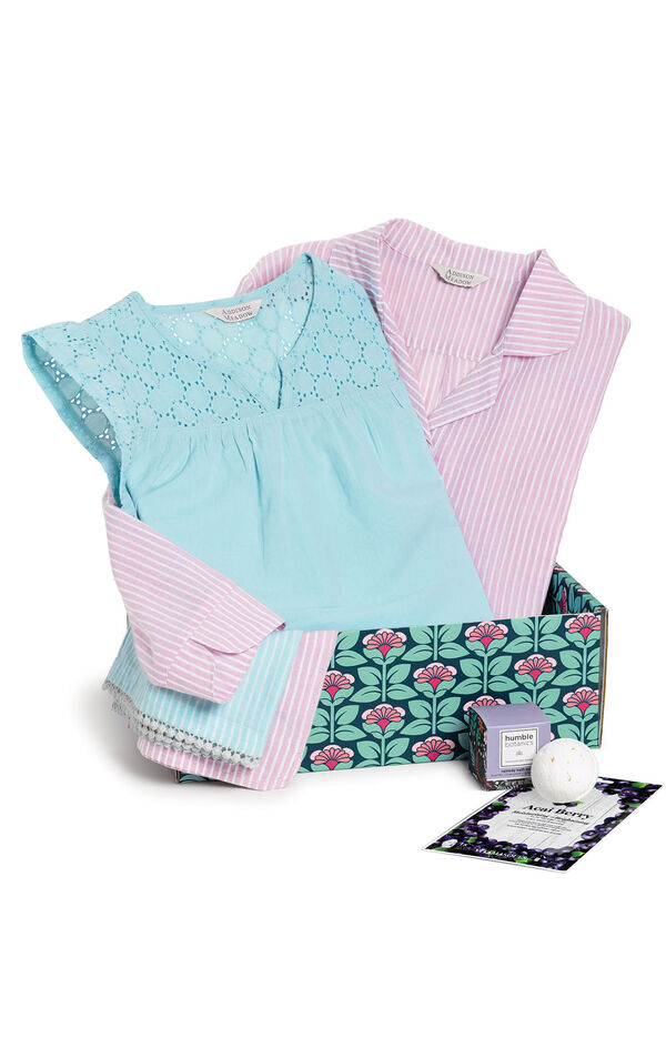 Addison Meadow Pullover PJ in Mauve Stripe and Summer Capri Pajama in Aqua Stripe in a blue and pink floral gift box with a bath bomb  image number 0