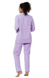 Model wearing Purple Pin Dot Button-Front PJ for Women facing away from the camera image number 1