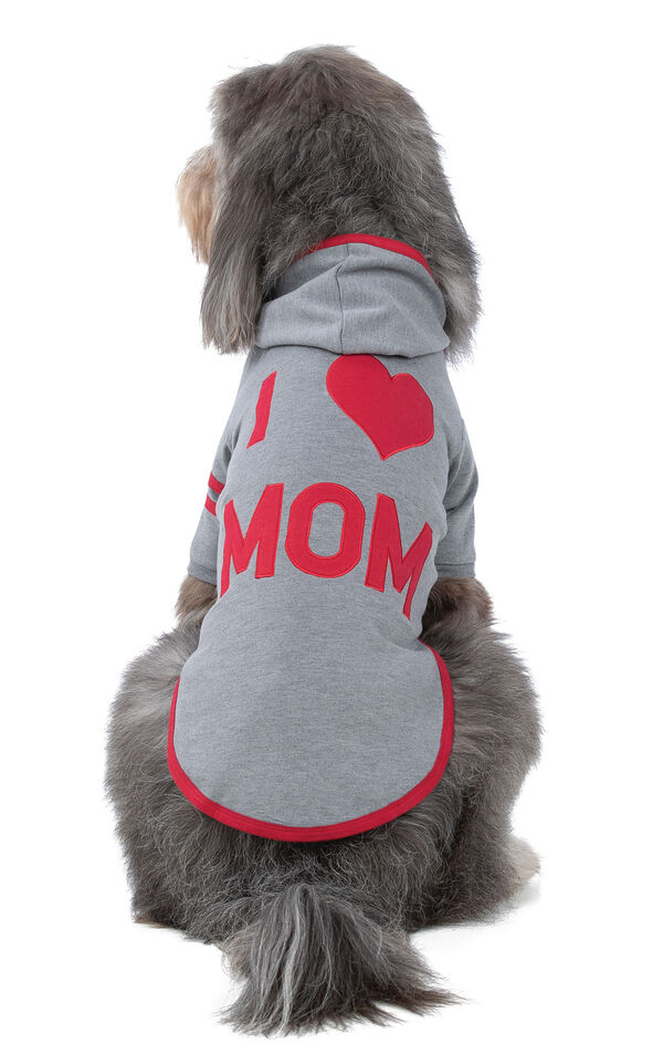 Model wearing Gray Hoodie PJ for Pets, facing away from the camera image number 1