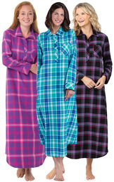 Models wearing Modern Plaid, Wintergreen Plaid and Raspberry Plaid Flannel Nightgowns. image number 0