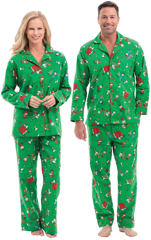 Models wearing Green Charlie Brown Christmas PJ for Him and Her image number 0