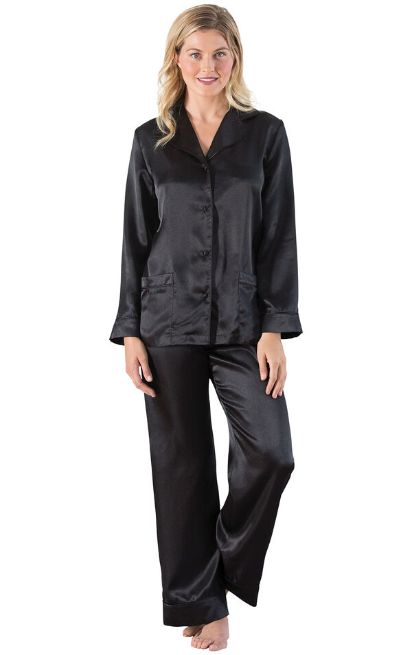 Model wearing Black Satin Button-Front Pajamas for Women image number 0