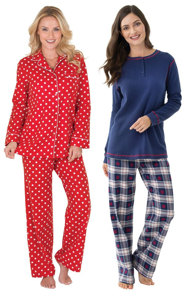 Models wearing Polka-Dot Boyfriend Flannel Pajamas - Red and Snowfall Plaid Pajamas. image number 0