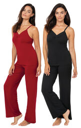 Red and Black Naturally Nude Cami PJs Gift Set image number 0