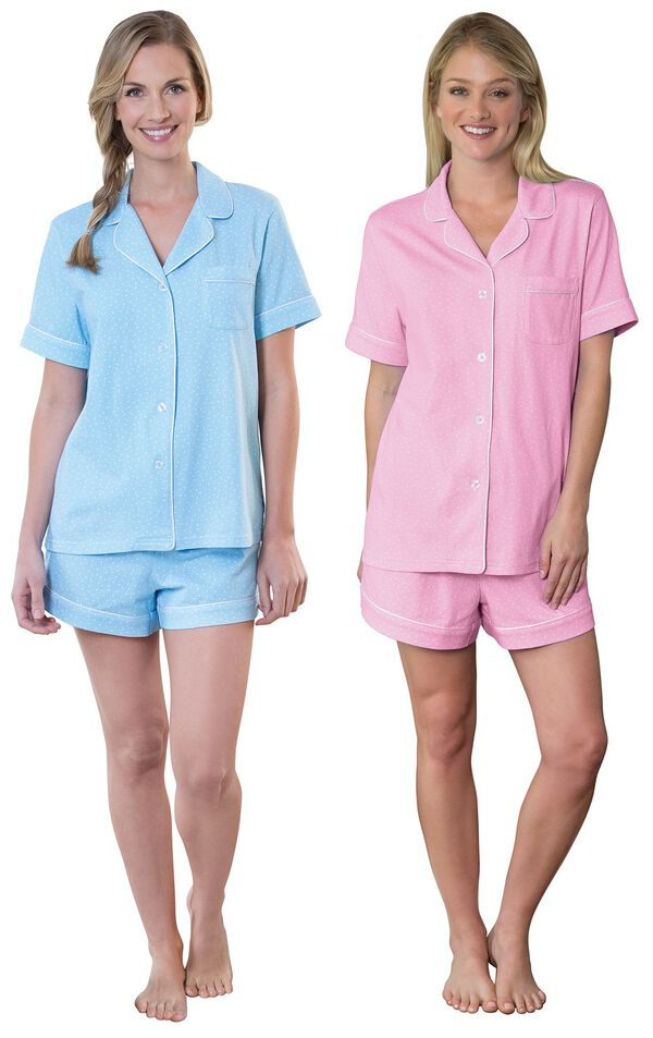 Models wearing Classic Polka-Dot Short Set - Blue and Classic Polka-Dot Short Set - Pink. image number 0