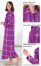 Close-ups of the features of Raspberry Plaid Flannel Nighty which include a classic collar and button placket, convenient chest pocket and cuffs with pretty pink piping image number 3