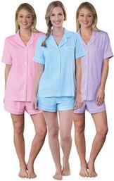 Models wearing Classic Polka-Dot Short Set - Blue, Classic Polka-Dot Short Set - Lavender and Classic Polka-Dot Short Set - Pink. image number 0