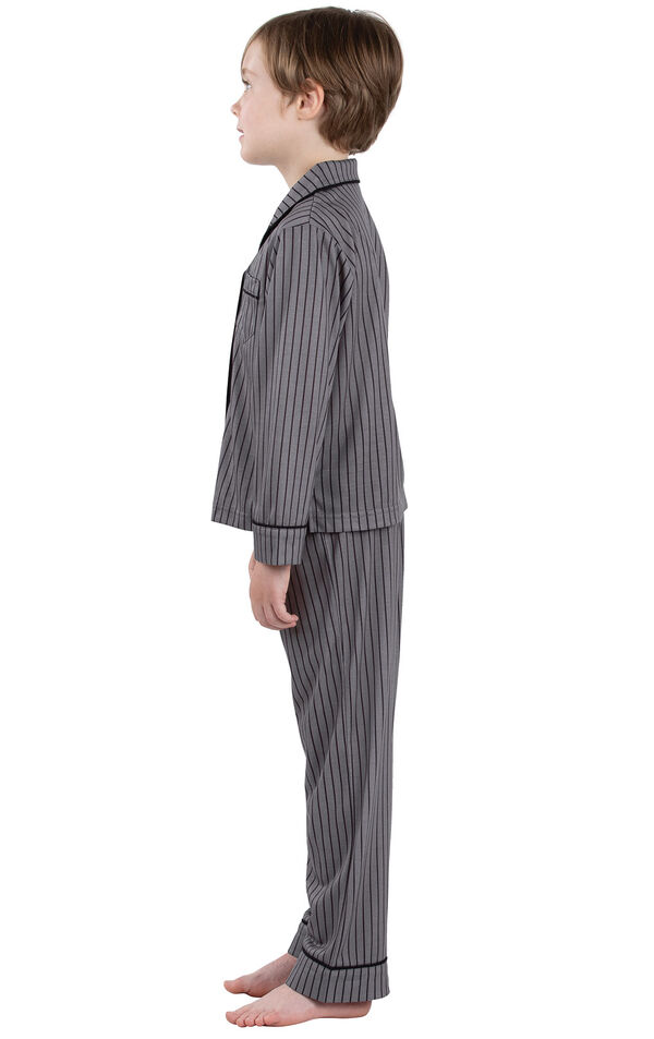 Model wearing Charcoal Gray and Black Stripe Button-Front PJ for Youth, facing to the side image number 2