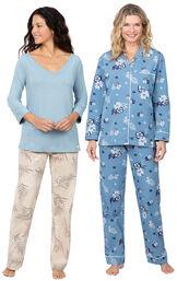 Models wearing Margaritaville Tropical Dreams Pajamas - Sand and Margaritaville Hibiscus Boyfriend Pajamas - Blue.