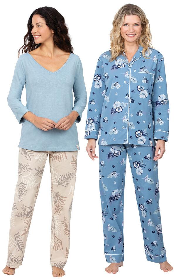 Models wearing Margaritaville Tropical Dreams Pajamas - Sand and Margaritaville Hibiscus Boyfriend Pajamas - Blue. image number 0