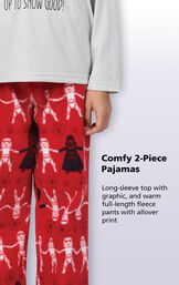 "Red Star Wars Girls Pajamas feature a long-sleeve top with ""Up To Snow Good!"" graphic, and warm full-length fleece pants with allover print image number 3"