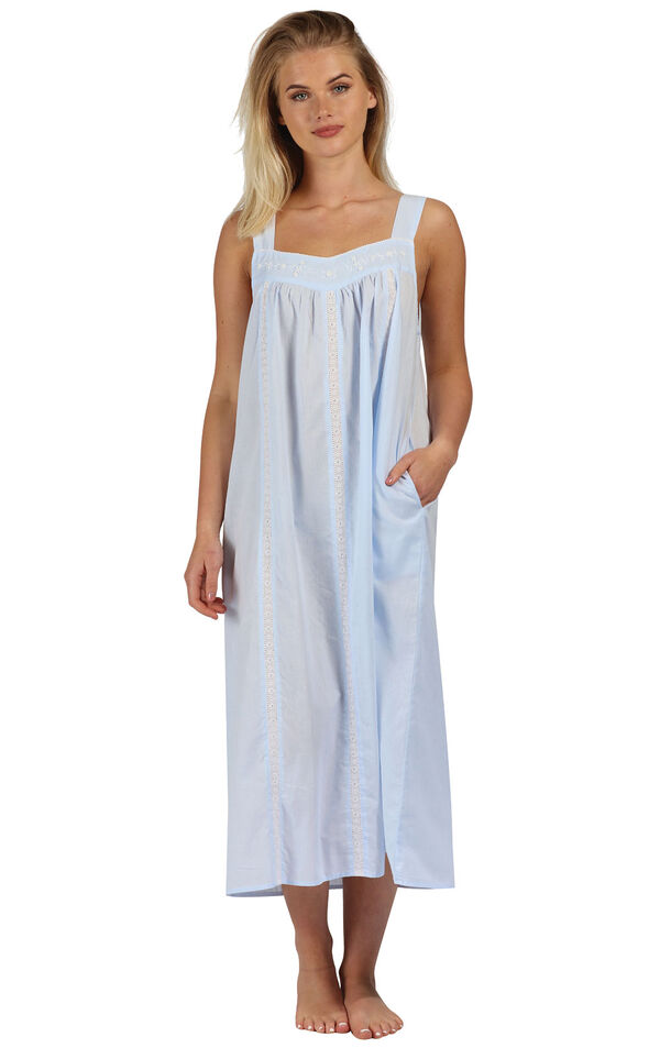 Model wearing Meghan Nightgown in Blue for Women image number 0