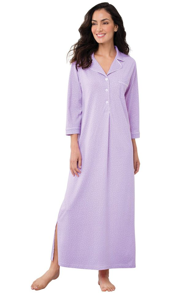 Model wearing Purple Pin Dot Gown for Women image number 0