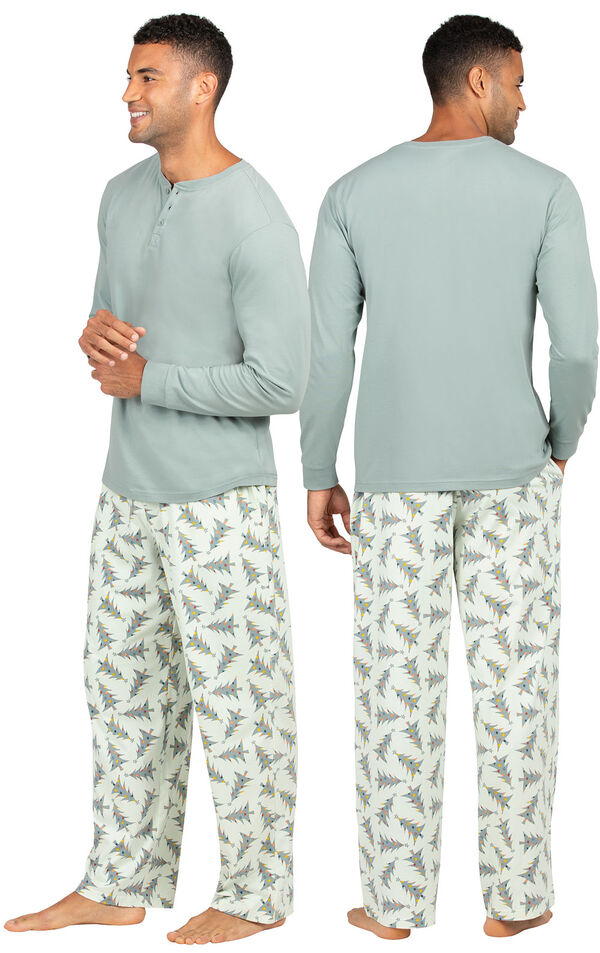 Model wearing Green Pine Tree PJ for Men, facing away from the camera and then to the side image number 1