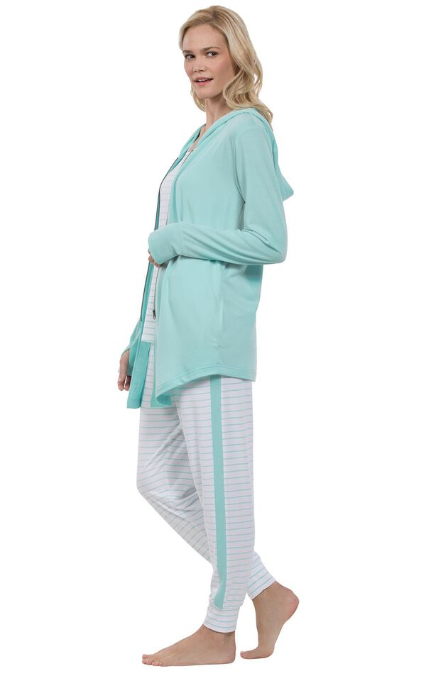 Model facing the side wearing Mint and White Three-Piece Cute Pajama Set  image number 2