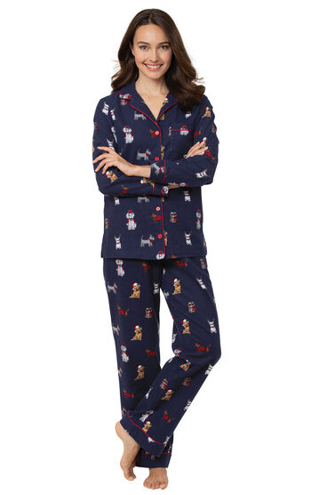 Christmas Dogs Flannel Boyfriend Pajamas - Navy