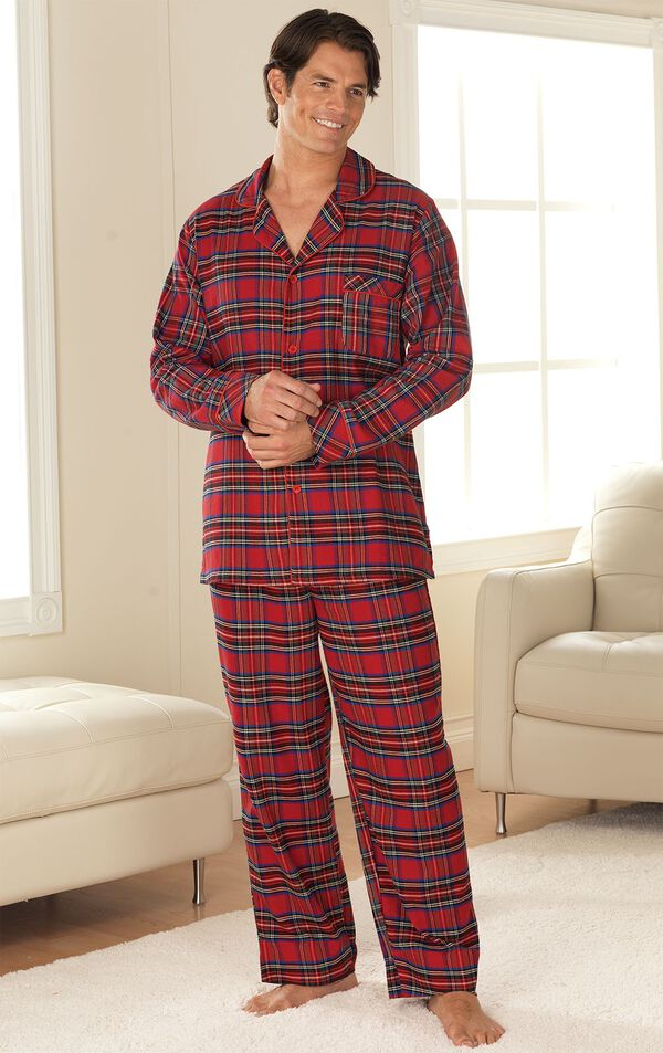 Model standing in living room wearing Red Classic Plaid Button-Front PJ for Men image number 1
