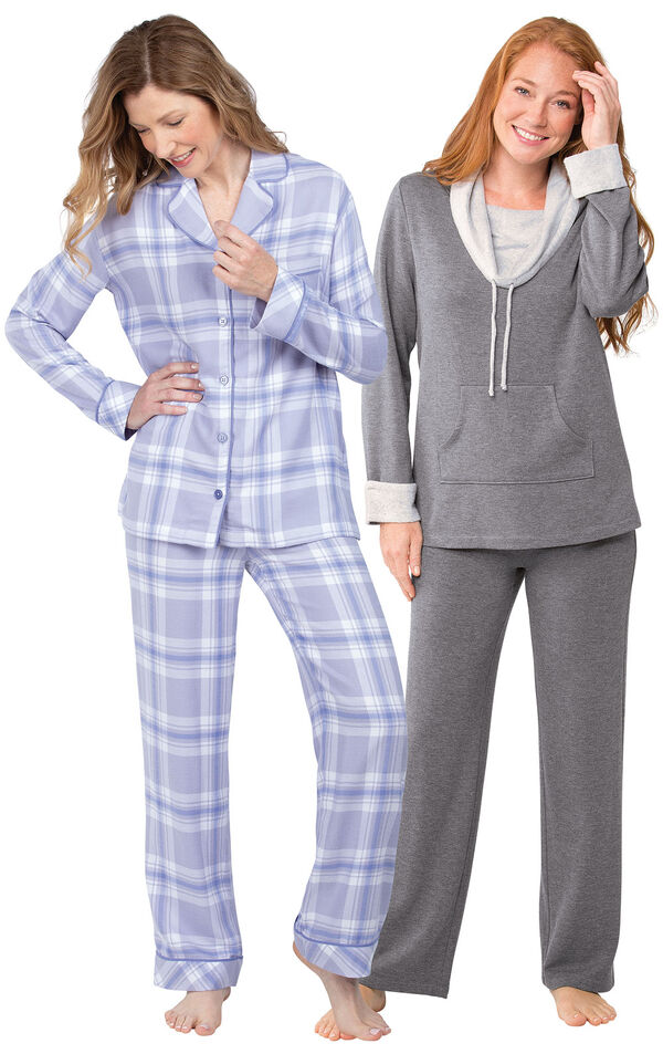 Models wearing World's Softest Flannel Boyfriend Pajamas - Lavender Plaid and World's Softest Pajamas - Charcoal. image number 0