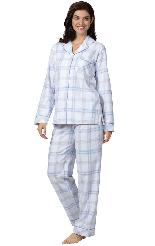 Model wearing Blue Plaid Button-Front PJ for Women image number 0