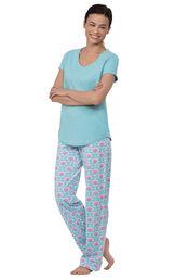 Model wearing Aqua Floral V-neck Short-Sleeve PJ for Women with Modern Floral Full-length pants image number 0