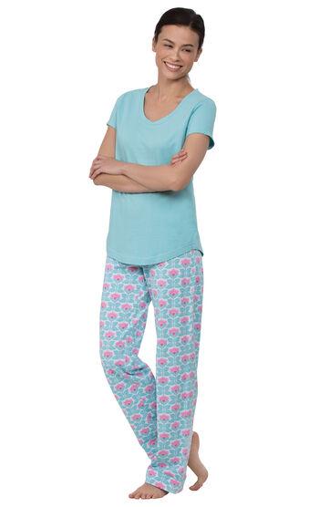 Short-Sleeve V-Neck Pajamas - Aqua Floral