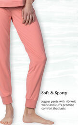 Whisper Knit Jogger PJs feature jogger pants with rib-knit waist and cuffs image number 3