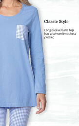 Classic Style - Long-sleeve tunic top has a convenient chest pocket image number 2