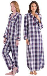 Models wearing Snowfall Plaid Boyfriend Pajamas and Snowfall Plaid Nighty. image number 0