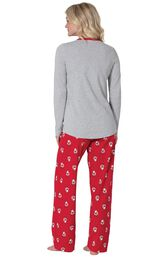 Model wearing Red and Gray Santa Print PJ for Women, facing away from the camera image number 1