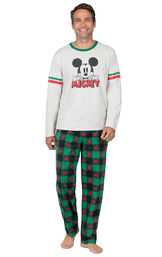 Model wearing Red and Green Mickey Mouse Holiday PJs for Men