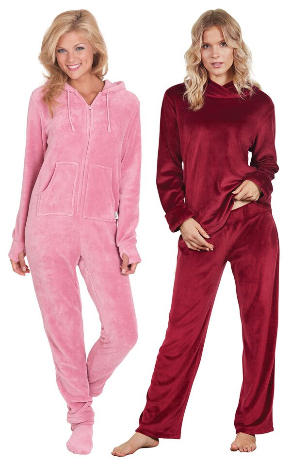 Models wearing Tempting Touch Pajamas - Garnet and Hoodie-Footie - Pink. image number 0